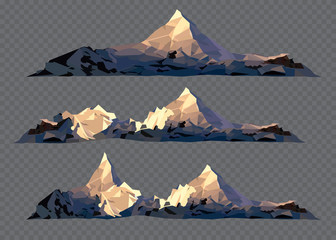 Set of black and white mountain silhouettes.Vector illustration on the transparent background.