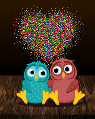 A pair of cute owls in love. Vector on wooden background. Colorful