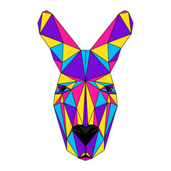 Abstract polygonal kangaroo portrait. Modern low poly kangaroo head isolated on white for card, veterinarian clinic placard, modern party invitation, book, poster, bag print, t shirt etc.