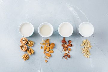 Assortment of organic vegan non diary milk from nuts