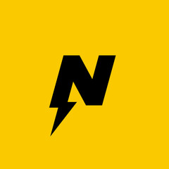 Letter N lightning logo icon design template elements