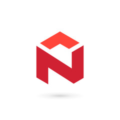 Letter N cube icon design template elements
