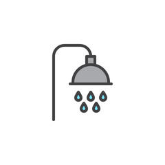 Shower filled outline icon, line vector sign, linear colorful pictogram isolated on white. Shower heads with water drops symbol, logo illustration. Pixel perfect vector graphics