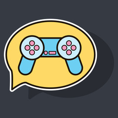 Sticker Vector illustration icon of social media: e-mail, game joystick, message