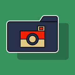 Sticker Pictures Folder Icon. Vector