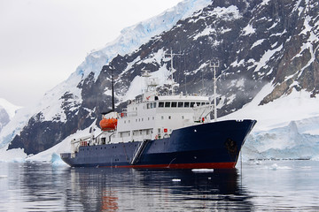 Expedition ship in Antarctic sea