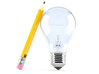 Light bulb with pencil concept
