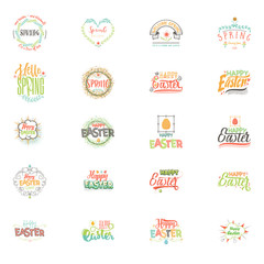 Spring - Easter is a beautiful badge set, like a sticker for social networks.