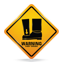 International Crushing Of Toes - Foot Hazard Symbol,Yellow Warning Dangerous icon on white background, Attracting attention Security First sign, Idea for graphic, web design, Vector, EPS10.