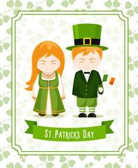 Happy Saint Patrick's Day. Poster, card, invitation, print.  Girl and boy with irish flag. Vector illustration.