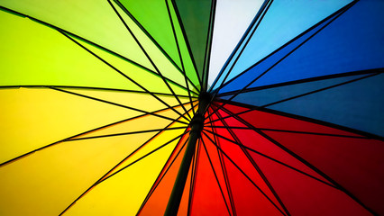Seeing up a colorful rainbow umbrella