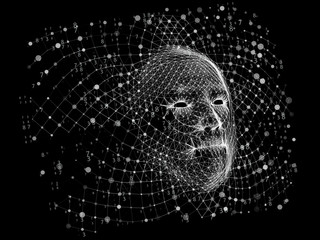 Background  face consisting of  dots and lines.Big data. Artificial intelligence.