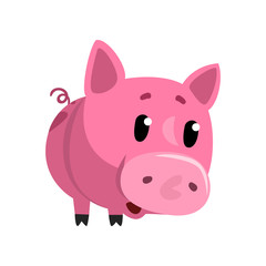 Sad pink cartoon baby piglet, cute funny little piggy character vector Illustration on a white background