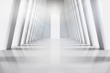Empty interior with large windows. Vector illustration.