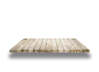 Wooden old shelf isolated on white background, can be used for object placement