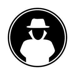 Circular, flat hacker in a trench coat and hat (white silhouette) icon. Isolated on white