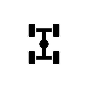 Chassis Car Suspension. Flat Vector Icon. Simple black symbol on white background