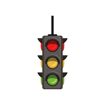 Semaphore with vertical arrangement of signals. Flat vector traffic light with red, yellow and green lamps. Signaling device positioned at road intersections