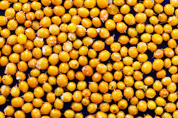 sea buckthorn berry, yellow and ripe, frozen