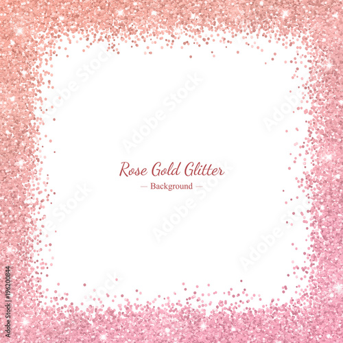 rose gold glitter border frame with color effect on white background