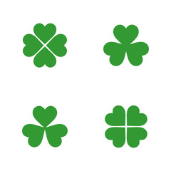 Green clover icon collection in flat style. Isolated clover icon collection for use in variety of projects. Simple vector clover icon collection for web sites and apps.