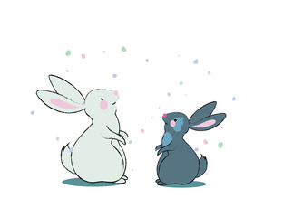 Cute bunnies illustration