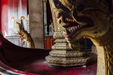 Golden dragons in Wat Xieng Tong temple in Louang Prabang, Laos