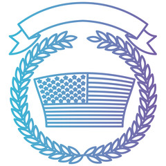united states flag inside of crown olive branches with ribbon on top in color gradient silhouette from purple to blue vector illustration