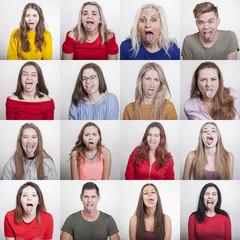 16 Menschen mit heraus gestreckter Zunge zeigen wie sehr sie sich ekeln