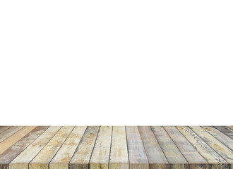Wooden old table isolated on white background. For your product placement or montage with focus to the table top in the foreground