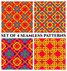 Colorful celtic knot seamless patterns