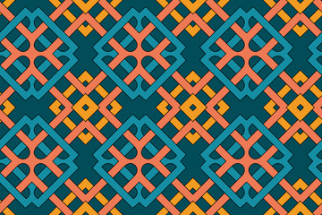 Geometric seamless pattern with celtic ornament of orange, yellow, blue and teal shades