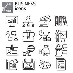 Web icons set - Business black on white background
