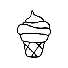Sweet cartoon hand drawn ice cream. Cute vector black and white doodle ice cream. Isolated monochrome ice cream drawing on white background.