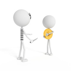Robber stealing coin from the man. 3D rendering.