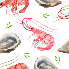 Seamless pattern seafood. Prawns and oysters watercolor illustration.