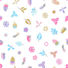 Fototapete - Seamless background with abstract flowers