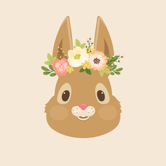 Head of the rabbit/bunny in a floral wreath
