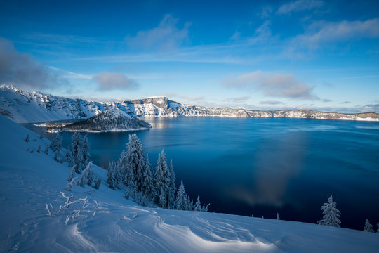 Winter Forest Crater Lake Snowy Mountain Landscape Photograph Oregon Pacific Northwest Mountain Trees