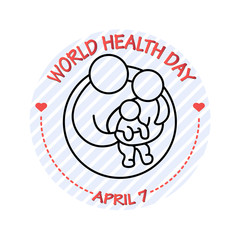 Vector illustration of family icon. World Health Day card.
