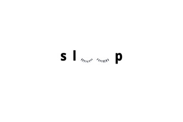 Sleep text isolated on white background.(Real eyelash).It can be used for posters, postcards, covers, t-shirts, pillows, bags.Top view,flat lay and copy space for text.Concept sweet dream.