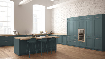 Modern industrial wooden kitchen with wooden details and panoramic window, white and blue minimalistic interior design, downtown panorama