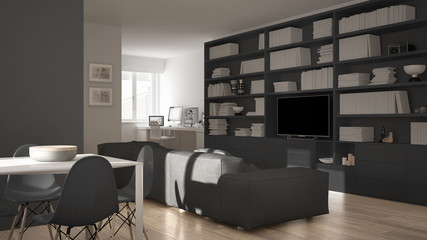 Modern living room with workplace corner, big bookshelf and dining table, minimal white an gray architecture interior design