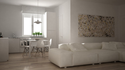 Deurstickers Boho Stijl Modern living room with kitchen in a cozy open space apartment, white architecture interior design