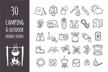 Camping and hiking equipment doodle icons set. Collection of 30 forest and camping elements in hand drawn style. Outlined icons isolated on white background. Vector illustration.