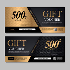 Voucher template with black and gold certificate. Background design coupon, invitation, currency. Set of stylish gift voucher with golden pattern. gift card, coupon.Isolated from the background.