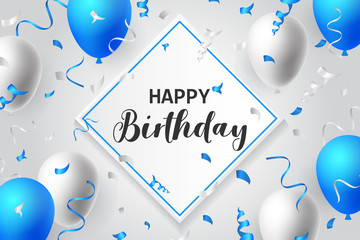 Happy Birthday Balloons Typography Banner Background Illustration Poster Design Template Birthday Celebration For Greeting Cards