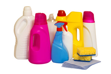 Set of multi-colored plastic containers for household chemicals, cleaning products for home use. Isolated, white background.