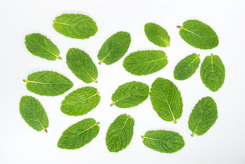 Mint leaves on a white top view