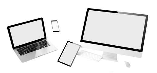 flying devices white screen isolated